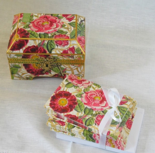 Briefkarten in Schmuckkasten-Box, Damask